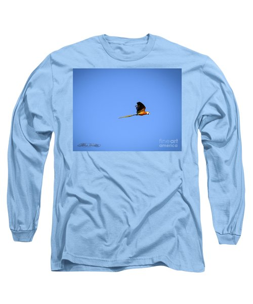 Macaw In Flight Long Sleeve T-Shirt by Melissa Messick