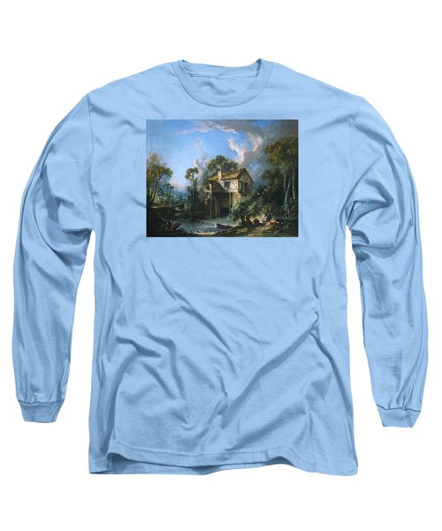 Mill At Charenton Long Sleeve T-Shirt by Francois Boucher