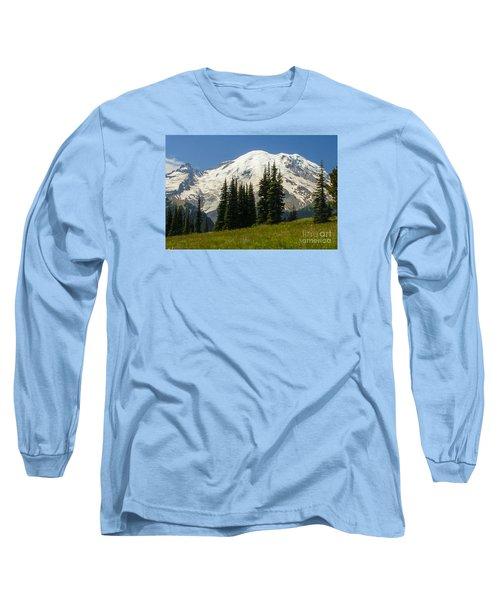 Mt. Rainier Alpine Meadow Long Sleeve T-Shirt by Chuck Flewelling