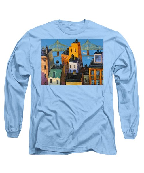 Long Sleeve T-Shirt featuring the painting New York by Mikhail Zarovny
