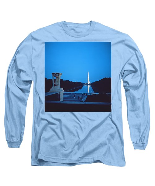 Night View Of The Washington Monument Across The National Mall Long Sleeve T-Shirt by American School