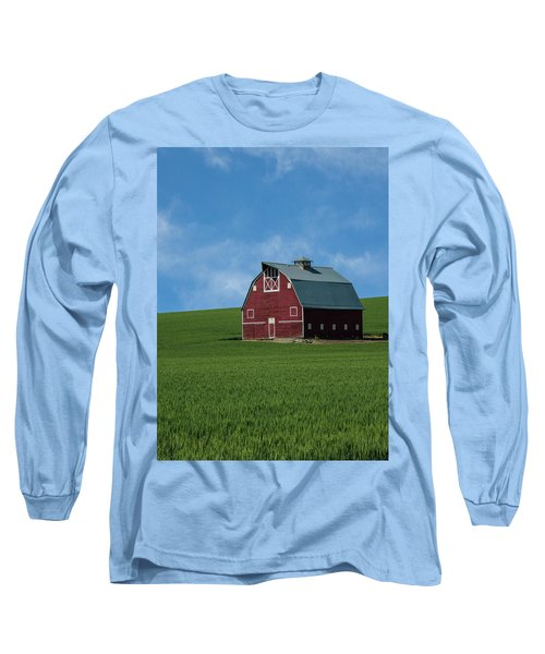 Old Red Barn In The Palouse Long Sleeve T-Shirt by James Hammond