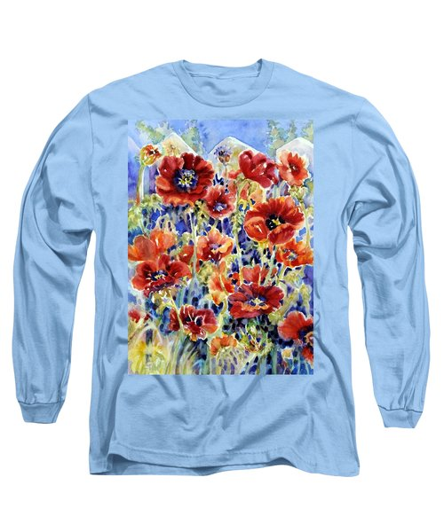 Picket Fence Poppies Long Sleeve T-Shirt