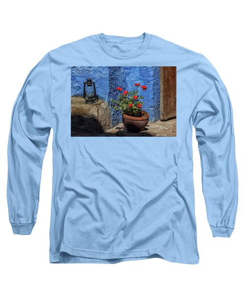Long Sleeve T-Shirt featuring the photograph Red Geranium Near A Blue Wall by Patricia Hofmeester