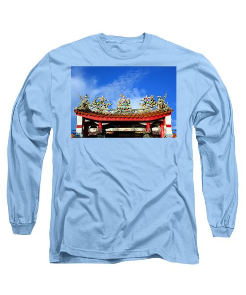 Long Sleeve T-Shirt featuring the photograph Richly Decorated Chinese Temple Roof by Yali Shi