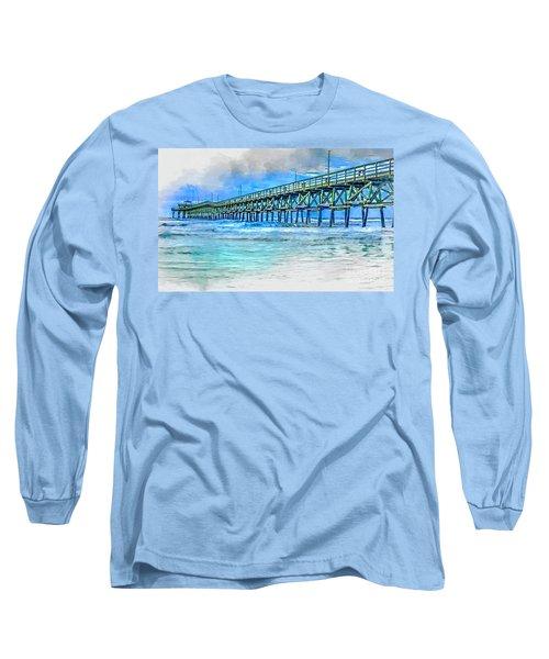 Sea Blue - Cherry Grove Pier Long Sleeve T-Shirt