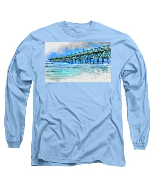 Sea Blue - Cherry Grove Pier Long Sleeve T-Shirt