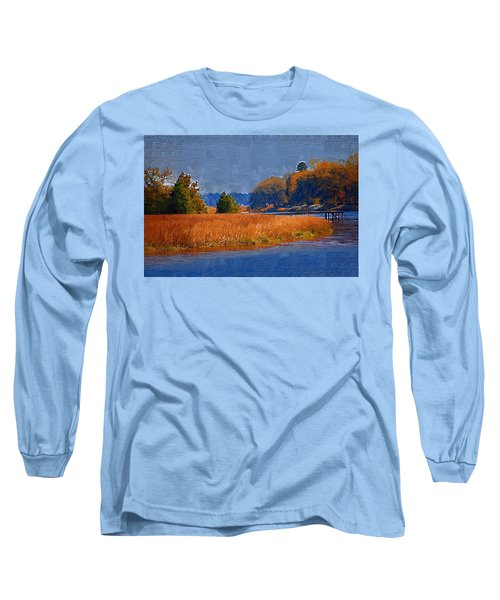 Sitting On The Dock Long Sleeve T-Shirt by Donna Bentley