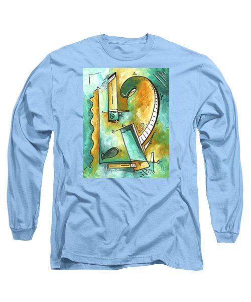 Teal Dreams Fun Funky Original Pop Art Style Abstract Painting By Megan Duncanson Long Sleeve T-Shirt