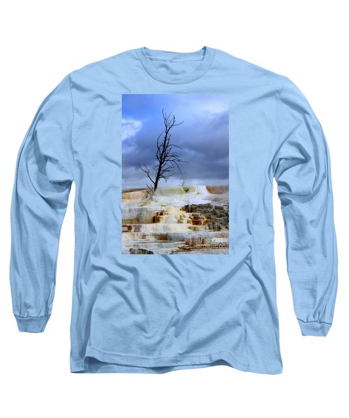 Long Sleeve T-Shirt featuring the photograph Travertine Terraces by Irina Hays
