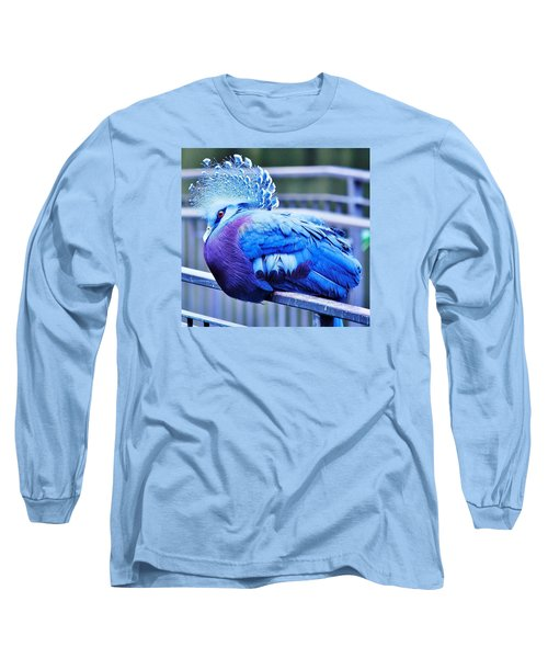 Victoria Crowned Pigeon Long Sleeve T-Shirt by Al Fritz