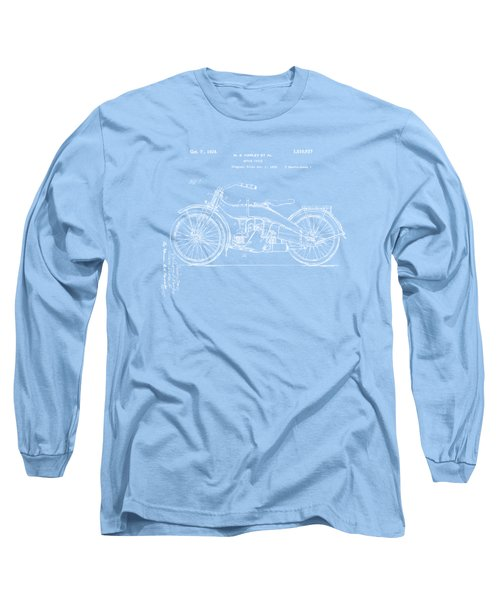 Long Sleeve T-Shirt featuring the digital art 1924 Harley Motorcycle Patent Artwork Blueprint by Nikki Marie Smith