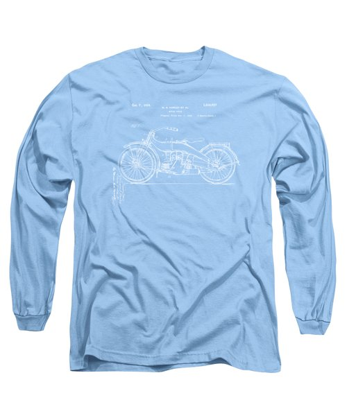 1924 Harley Motorcycle Patent Artwork Blueprint Long Sleeve T-Shirt