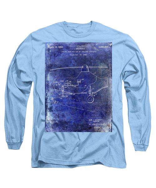 1953 Helicopter Patent Blue Long Sleeve T-Shirt by Jon Neidert