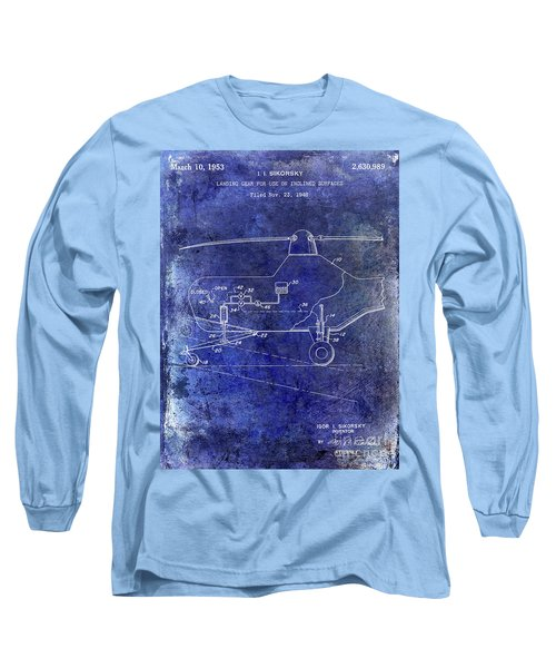1953 Helicopter Patent Blue Long Sleeve T-Shirt