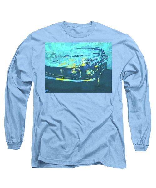 1969 Mustang Mach 1 Blue Pop Long Sleeve T-Shirt