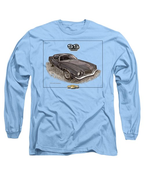 Long Sleeve T-Shirt featuring the painting 1976 Camaro S S 396 Tee Shirt by Jack Pumphrey