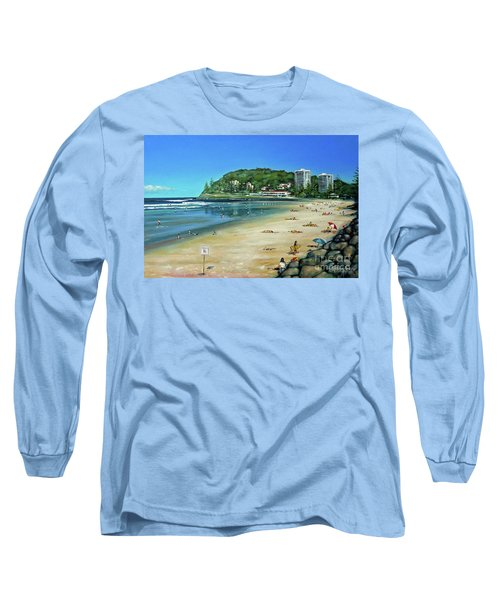 Long Sleeve T-Shirt featuring the painting Burleigh Beach 100910 by Selena Boron