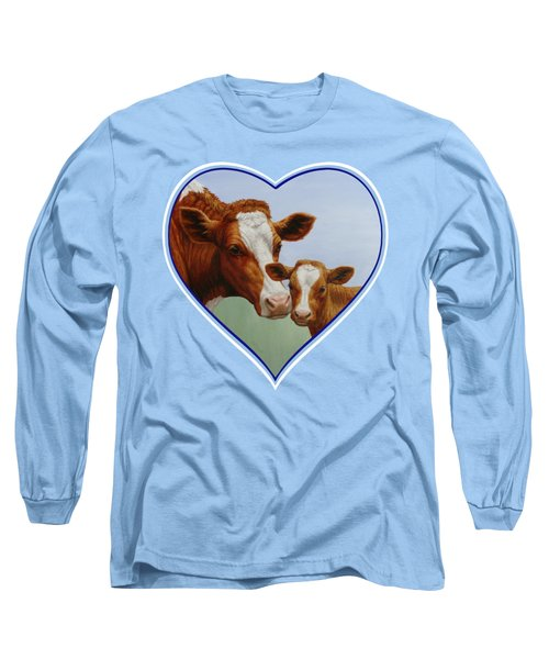 Cow And Calf Blue Heart Long Sleeve T-Shirt by Crista Forest