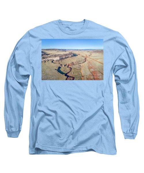 creek at  Colorado foothills - aerial view Long Sleeve T-Shirt