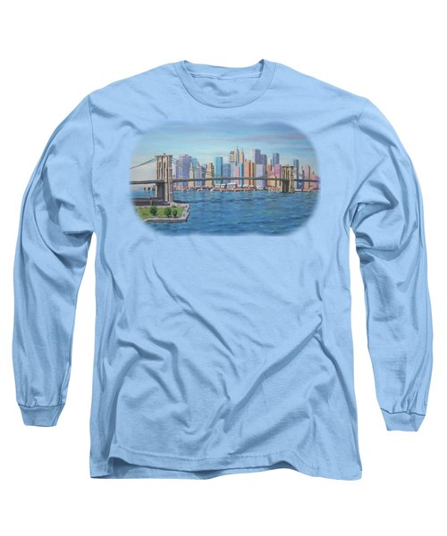 New York Brooklyn Bridge Long Sleeve T-Shirt by Renato Maltasic
