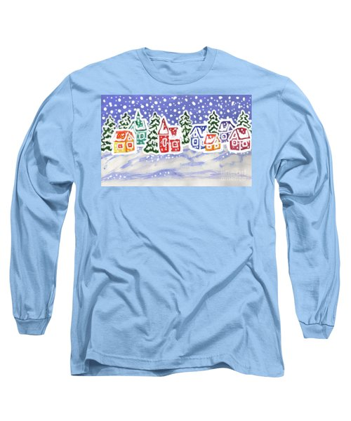 Winter Landscape With Multicolor Houses, Painting Long Sleeve T-Shirt by Irina Afonskaya