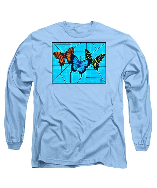 3  Butterflies On Blue Long Sleeve T-Shirt