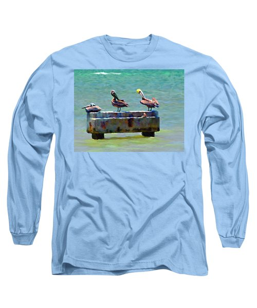 Long Sleeve T-Shirt featuring the painting 3 Pelicans by David  Van Hulst