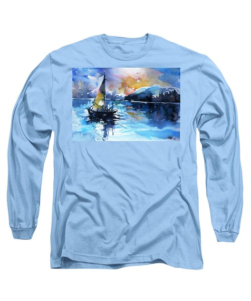 Long Sleeve T-Shirt featuring the painting Sailboat by Kovacs Anna Brigitta