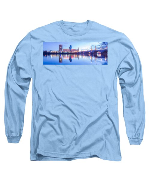 Long Sleeve T-Shirt featuring the photograph Springfield Massachusetts City Skyline Early Morning by Alex Grichenko