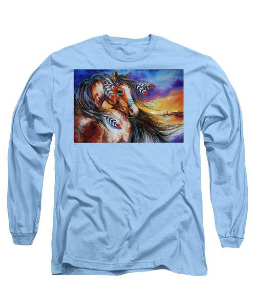 5 Feathers Indian War Horse Long Sleeve T-Shirt by Marcia Baldwin