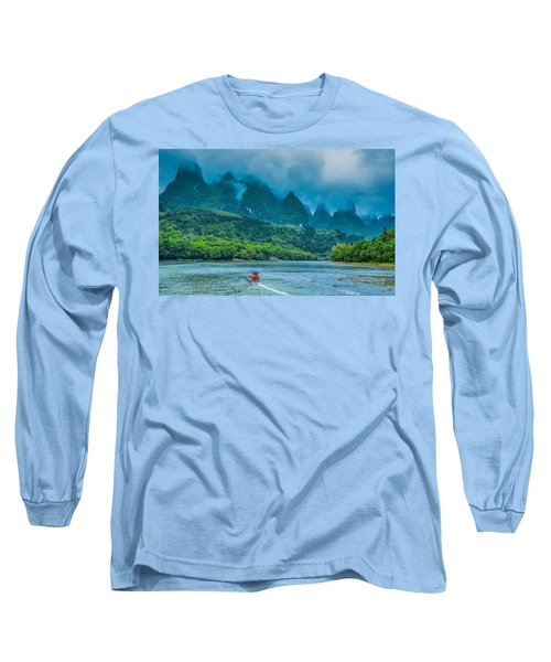 Karst Mountains And Lijiang River Scenery Long Sleeve T-Shirt