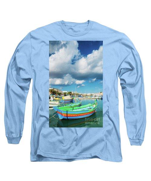 Marsaxlokk Harbour And Traditional Mediterranean Fishing Boats I Long Sleeve T-Shirt
