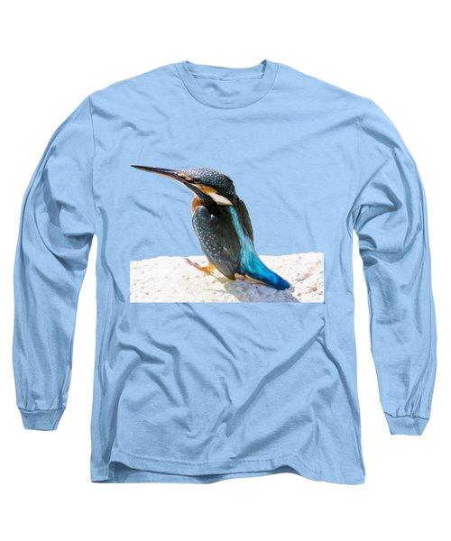 A Beautiful Kingfisher Bird Vector Long Sleeve T-Shirt by Tracey Harrington-Simpson