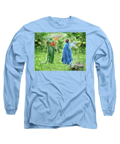 Long Sleeve T-Shirt featuring the digital art A Dragon Confides In A Fairy by Lise Winne