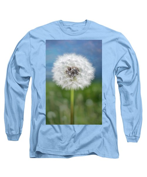 A Single Dandelion Seed Pod Long Sleeve T-Shirt