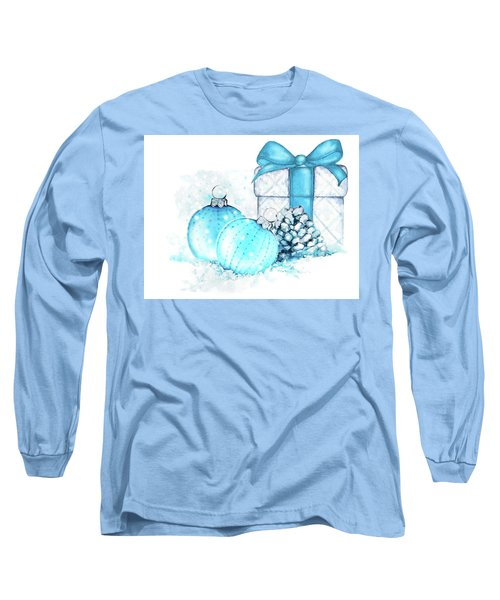 Long Sleeve T-Shirt featuring the painting A Sparkly Blue Christmas by Heidi Kriel