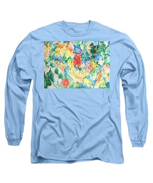 A Summer Garden Frolic Long Sleeve T-Shirt by Esther Newman-Cohen