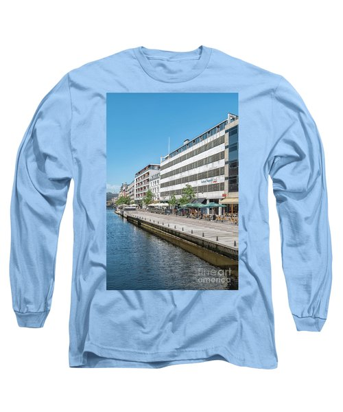 Long Sleeve T-Shirt featuring the photograph Aarhus Canal Scene by Antony McAulay