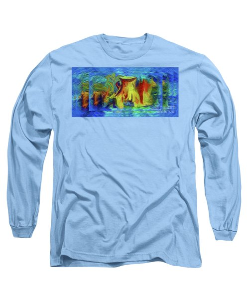 Abstract Artgo With The Flow Long Sleeve T-Shirt by Sherri's Of Palm Springs