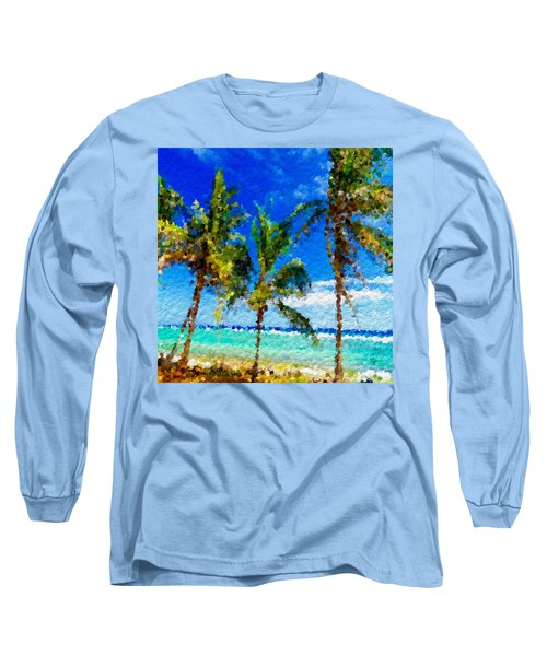 Abstract Beach Palmettos Long Sleeve T-Shirt by Anthony Fishburne