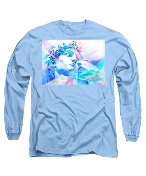 Long Sleeve T-Shirt featuring the painting Abstract David Michelangelo 3 by J- J- Espinoza