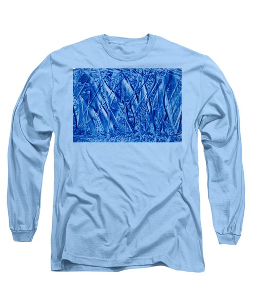 Abstract Encaustic Blues Long Sleeve T-Shirt