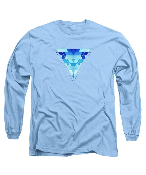 Abstract Geometric Triangle Pattern Futuristic Future Symmetry In Ice Blue Long Sleeve T-Shirt