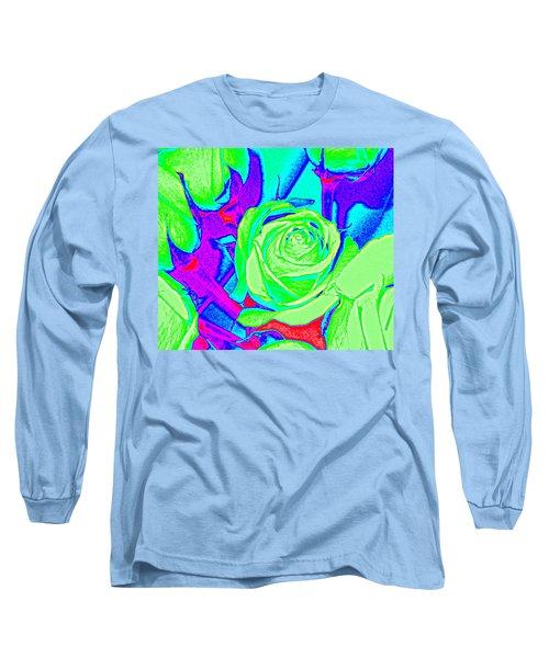 Abstract Green Roses Long Sleeve T-Shirt