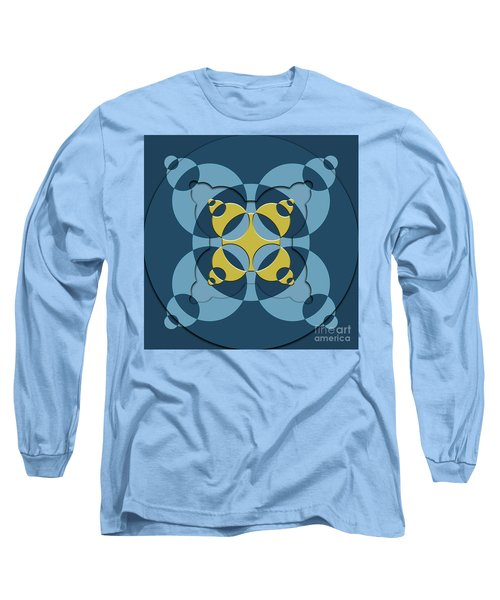 Abstract Mandala Blue, Dark Blue And Green Pattern For Home Decoration Long Sleeve T-Shirt