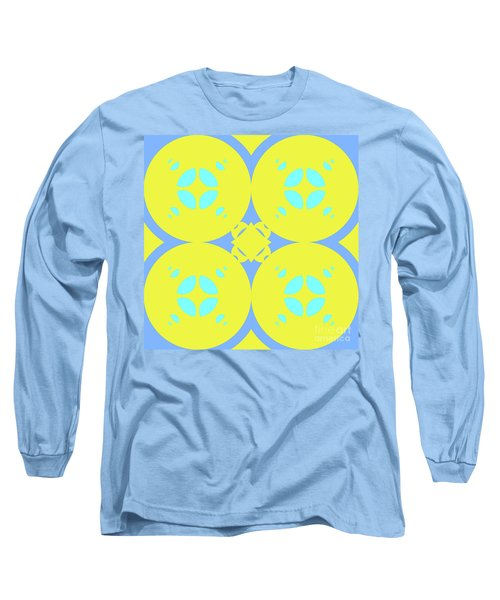 Abstract Mandala Cyan, Dark Blue And Green Pattern For Home Decoration Long Sleeve T-Shirt