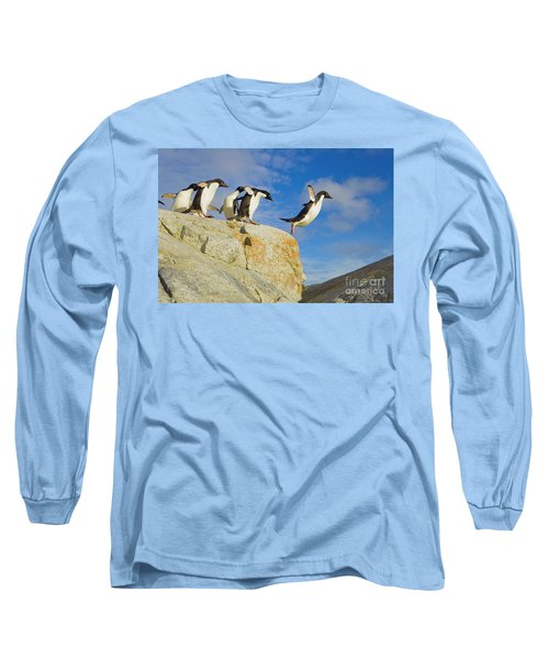 Adelie Penguins Jumping Long Sleeve T-Shirt
