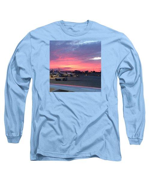 London City Airport Sunset Long Sleeve T-Shirt by Patsy Jawo