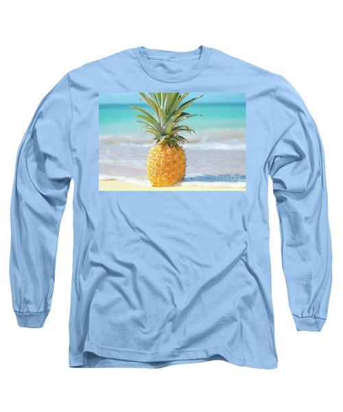 Long Sleeve T-Shirt featuring the photograph Aloha Pineapple Beach by Sharon Mau